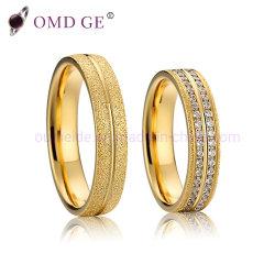L'or Mode Bijoux en acier inoxydable ensemble de l'anneau en acier inoxydable unique incrusté de pierres Cz sonne AAA