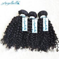 Angelbella Indian Remy Hair Kinky Curly Weave Excrétion et Tangle cheveux noir brut naturel libre