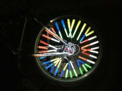 Llanta de bicicleta Bicicleta habló tubo del soporte del reflector de luz de advertencia