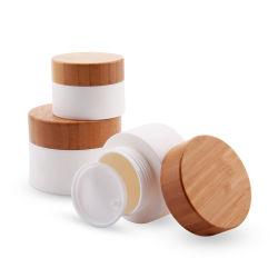 Круглой формы PP пластиковый контейнер для Косметического слоя с бамбуковой крышку и PP Liner-Cream лосьон для тела в салоне мази бачок макияж Pot кувшин блендера