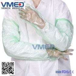 , 높은 보호 안전 긴 소매 PE 처분할 수 있는 장갑 수의, 처분할 수 있는 싼 장갑 처분할 수 있는 긴 PE/EVA 어깨 길이 수의 소매 장갑