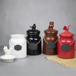 Vasetto in vetro per la conservazione di pasta snack con coperchio in ceramica