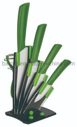 5ПК АБС TPR покрытие ручки керамические/фарфора комплекта ножей с подставкой для кухонных