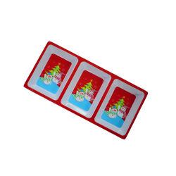 2020 Nuevo diseño de la bandeja de bocadillos de navidad La navidad de la placa de compartimiento 3