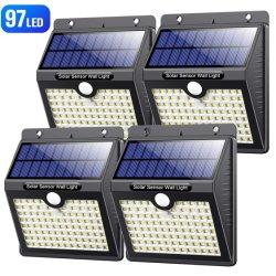 97 voyants LED solaire des feux de mur solaire Chemin Lumière mur du jardin en plein air Yard lampe de clôture