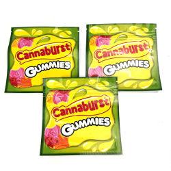 Cannaburst Gummies deteriora la bolsa de poliéster 500mg Edibles funda con cremallera vacía de almacenamiento al por menor los envases de hierba seca de la flor de tabaco