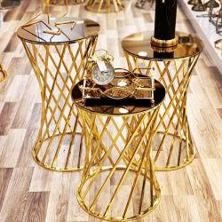 Bodas de Oro moderno mobiliario de diseño redondo de acero inoxidable mesa de torta de 3 piezas