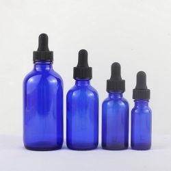 Excelente qualidade Blue 15ml 30ml Boston Round frasco conta-gotas de vidro