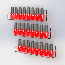 Mayorista personalizado de metacrilato visualización clara de esmalte de uñas para rack de montaje en pared para salón