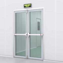 Niveau salle blanche cadre en aluminium durable verre trempé ressort de plancher Hôpital Porte avec poignée en acier inoxydable