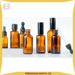 De de kleine en Grote Pomp van de Nevel van het Glas van de Grootte Amber Kosmetische en Fles van het Druppelbuisje voor Essentiële Olie