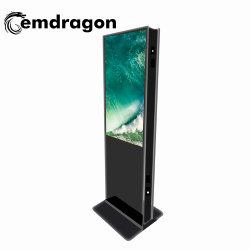 """En el interior 43"""" soporte de suelo de señalización digital electrónica de doble cara doble pantalla Información quioscos Android pantalla LCD muestra el reproductor de vídeo"""