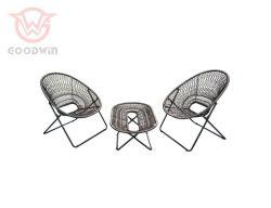 卸し売り安い鉄骨フレームの庭の屋外の家具の柳細工のソファーセット