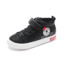2019 enfants d'hiver Fashion haut haut Sneaker Bébé Fille Garçon noir en cuir de PU Formateur chaussure de sport Toddler 7013