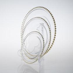 El Royal Hotel de lujo fruto Cookie Cake Cargador de vidrio de las placas de oro de las placas con reborde