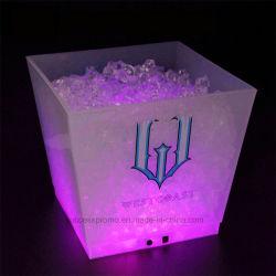 Recargable LED iluminado cubo de hielo de 10 L de la Cuchara Grande Champagne escarchada