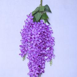 Venda por grosso de seda de plástico artificial decorativas pendure as flores na parede
