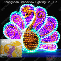 3D Peafowl Acrílico Motif luz de LED para decoração de Estacionamento