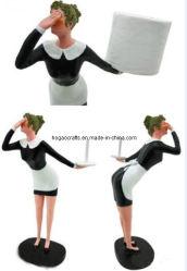 Résine créatif Lady serveuse tablette porte-papier tissu