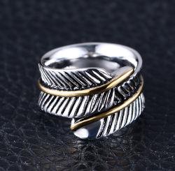 Personalidad Original anillo de plumas de acero de fundición de titanio de plumas anillo de división