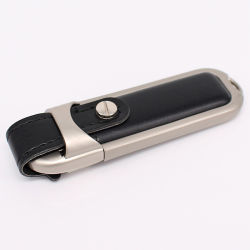 De embleem Afgedrukte Aandrijving van de Flits van het Leer USB 3.0 USB van het Metaal USB van de Stok Leer USB van het Bedrijfs van de Gift 4GB 8GB 16GB Stok Aangepaste