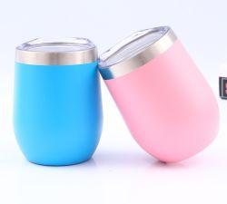 뚜껑을%s 가진 다채로운 스테인리스 격리된 공이치기용수철 두 배에 의하여 벽으로 막히는 밀짚 주문 대가 없는 찻잔 포도주 컵