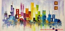 Handmade 감동하는 다채로운 도시 지평선 재생산 화포 유화