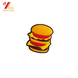 Cartoon les créations personnalisées Hamburger en PVC souple en caoutchouc 3D Fridge Magnet forme carré de couleur rouge Logo promotionnel en PVC blanc gaufré Fridge Magnet