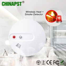 Batería de 9V Wireless Detector de Calor/Detector de humo (PST-WHS101).