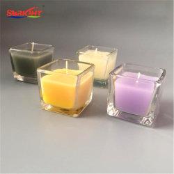 De mini Gekleurde Vierkante Kleine Kaarsen van de Kruik van het Glas voor Bevordering