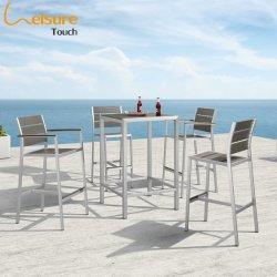 Meubles de jardin en aluminium brossé moderne Bar extérieur défini avec table haute et les tabourets pour la maison - Praha