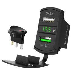QC3.0 Groene LEIDENE van de Afzet van de Macht van de Auto USB van de Contactdoos 12V/24V van de Lader van de tuimelschakelaar USB Snelle Last 3.0 van de Adapter van de Dubbele Aansteker van de Voltmeter Waterdichte Mariene de Schakelaar van de Tuimelschakelaar