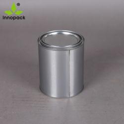 Forme ronde de la Peinture Revêtement chimique 1L'étain métallique peut / Tin Canister avec couvercle