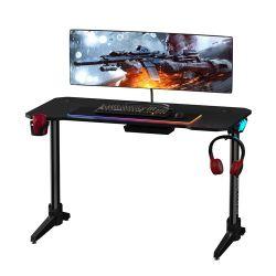 طاولة كمبيوتر مكتب ألعاب مع ضوء تنفس RGB FRETIN FRETWIN، طاولة راسينغ إي سبورتس مكتب كمبيوتر مريح للمنزل أو المكتب