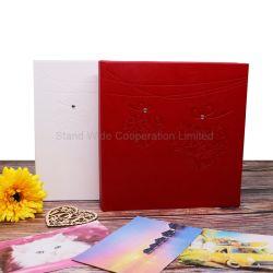 Repujado de cuero de PU enlazado Libro Álbum de fotos de boda personalizado