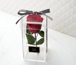 Transparente Plexiglas-einzelne Rosen-Blumen-Acrylverpackenkästen