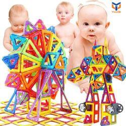 Preschool 60PCS blocchi da costruzione magnetici in plastica costruzione fai da te 3D sicura Giocattoli giocattolo a stelo educativo per bambini