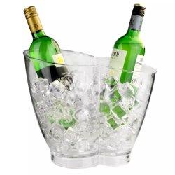 携帯用明確なワインのアイスペール2のびんのワインのスリラー、ワインクーラー