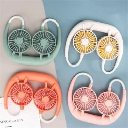 3 en 1 ventilateur cou pendaison 1200mAh Rechargeables USB Mini 3 Modes de réception de couleur aléatoire ordinateur de poche Ventilateur fan de voyages de camping