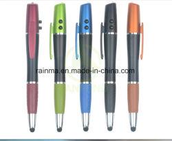 1台のスタイラスおよびLEDライトが付いている赤いレーザーのポインターのボールペンの高品質4