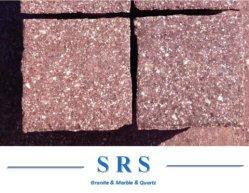 حجر الرصف/حجر مكعب طبيعي منقسم أحمر صخرة أحمر اللون البورفيري/البورفيري للمشروع الخارجي