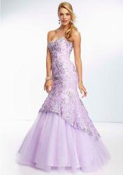 Encaje Elegante vestido de Prom vestido de noche de fiesta de sirena de tul cordón