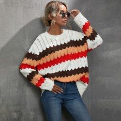 Bloque de color cálido de la moda de patrón de onda de cuello redondo invierno señoras tejer Pullover Sweater