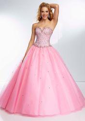 Rosafarbener Quinceanera Kleid-Ballkleid-gebördelter Tulle-Abschlussball kleidet die 16 Mädchen-formales Partei-Kleid