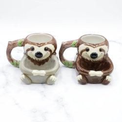 Keramik 3D Cute Lustige Slow Sloth Becher für Geschenk Promotion mit Biscuit Pocket