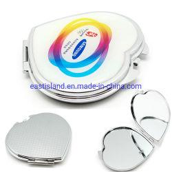 Металл в форме сердца подарок для продвижения Pocket макияж Складные зеркала заднего вида