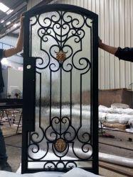 D'ORNEMENT Porte côté en fer forgé avec le verre