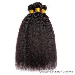 ブラジルのねじれた直毛は人間の毛髪の束のRemyの人間の毛髪の拡張を3/4部分の倍のよこ糸束ねる
