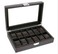 Schlitz-Uhr-Ablagekasten des Fabrik Firect Verkaufs-Spitzenkohlenstoff-Faser PU-Leder-12, Uhr-Schaukarton