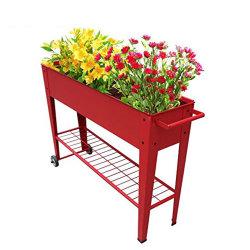 カスタム車輪が付いている金属によって上げられる花または野菜プランター